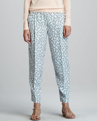 Rina Printed Silk Trousers