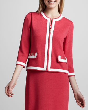 Santana Three-Quarter-Sleeve Jacket, Lipstick Pink