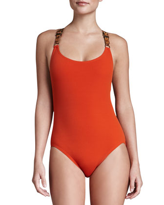 Buckled Cross-Back Maillot, Sienna