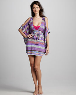 Mara Hoffman Printed Open-Shoulder Coverup