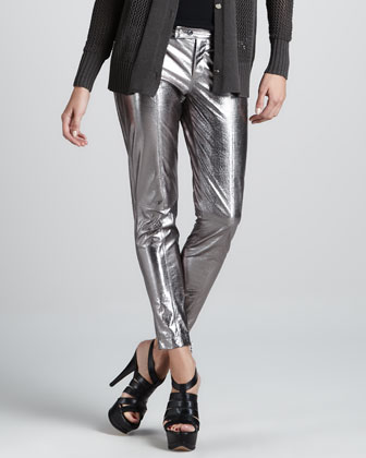 Metallic Leather Cropped Pants