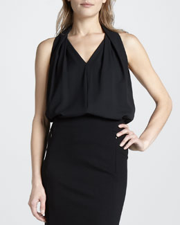 Diane von Furstenberg Reagan Draped Sleeveless Top, Black