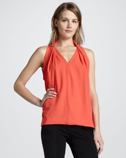 Diane von Furstenberg Reagan Draped Sleeveless Top, Coral