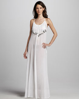 Mara Hoffman Fringed Gauze Maxi Dress