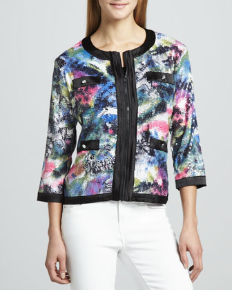 Sequined Print Zip Jacket, Petite