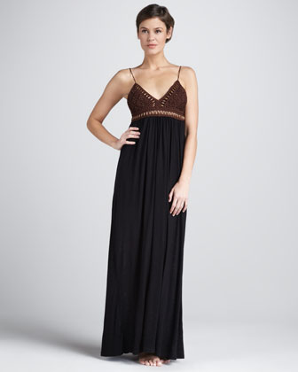 Adriana Crochet-Top Coverup Maxi Dress