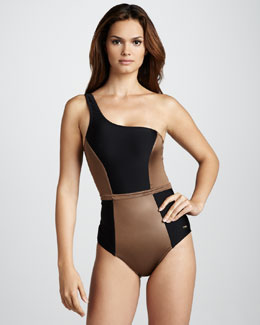 Camilla & Marc One-Shoulder Colorblock One-Piece Swimsuit