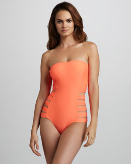 6 Shoreroad Contadora Neon Cutout Bandeau One-Piece Swimsuit