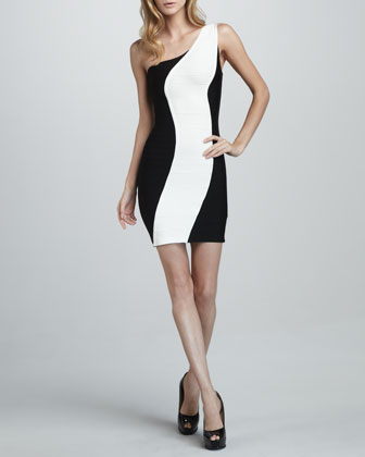 Two-Tone One-Shoulder Dress