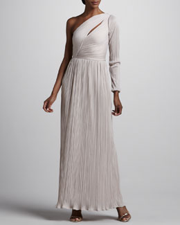 Halston Heritage One-Sleeve Pleated Gown