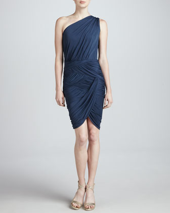 One-Shoulder Basket-Weave Dress