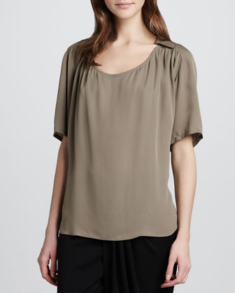 Silk Collar Top, Taupe