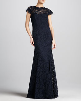 ML Monique Lhuillier Open-Back Lace Gown