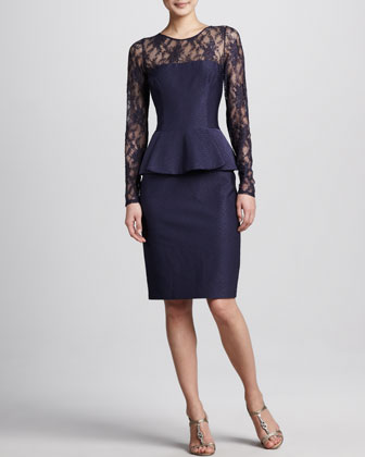 Illusion-Neck Peplum Cocktail Dress