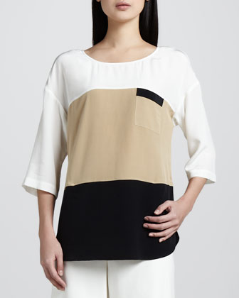 Colorblock Silk Tunic