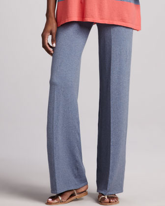 Wide-Leg Stretch-Cotton Pants