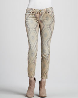 Current/Elliott The Low-Rise Stiletto Southwestern-Print Jeans