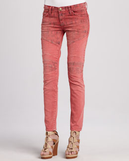 Current/Elliott The Moto Coral Low-Rise Skinny Jeans