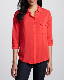 Splendid Georgette Button-Down Blouse