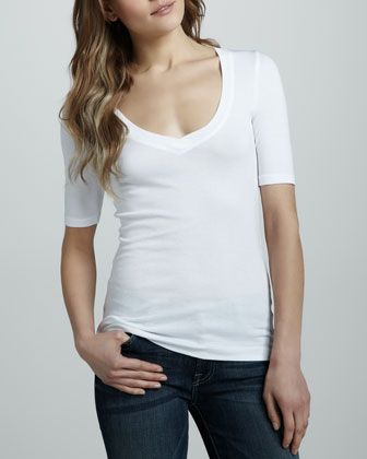 Half-Sleeve Basic Top, White