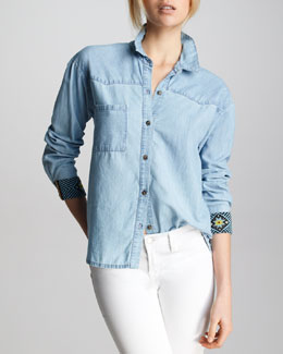 Patterson J. Kincaid Bunker Beaded-Cuff Chambray Top
