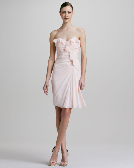 Strapless Ruffled Cocktail Dress
