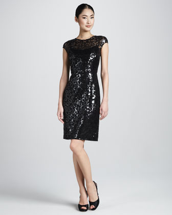 Sequined Animal-Print Cocktail Dress