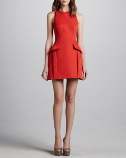 McQ Alexander McQueen Peplum-Pocketed Dress, Red