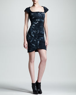 Kelly Wearstler Spirula Batik Cutout-Back Dress