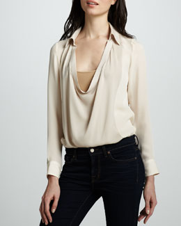 Haute Hippie Cowl-Neck Blouse