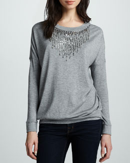 Haute Hippie Beaded Slub Pullover