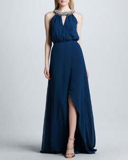 Erin by Erin Fetherston Sleeveless Gown with Embellished Neckline