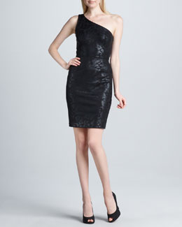 Erin by Erin Fetherston One-Shoulder Foil Sheath Dress