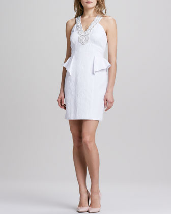 Sleeveless Jacquard Necklace Dress