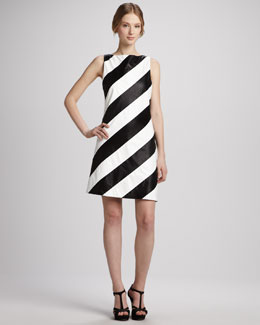Alice + Olivia Paige Striped Leather Shift Dress