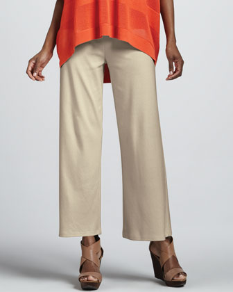 Oversized Mesh Sweater, Cotton Rib Tank & Casual Wide-Leg Interlock Pants