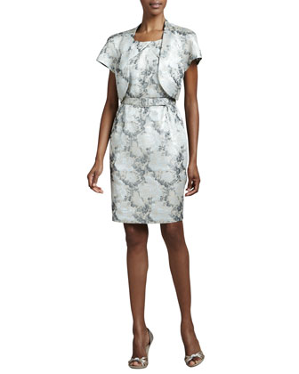 Floral-Jacquard Dress with Bolero