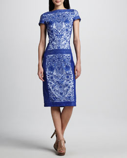 Tadashi Shoji Lace-Panel Cocktail Dress