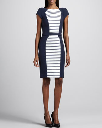 Short-Sleeve Striped Inset Dress