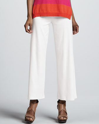 Easy Open Colorblock Cardigan, Tank & Casual Cotton Wide-Leg Pants