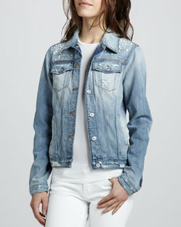 7 For All Mankind Studded Denim Jacket, Light Destroyed