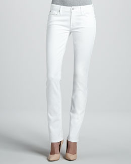 7 For All Mankind Straight-Leg Jeans, Clean White
