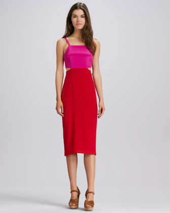 Cutout Colorblock Dress, Magenta/Red