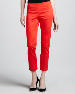 Adrienne Vittadini Cropped Side-Zip Pants, Tamale