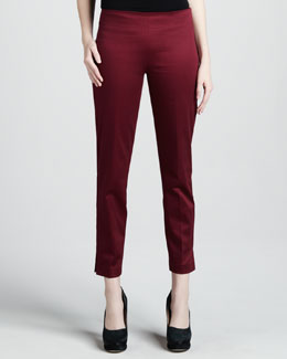 Adrienne Vittadini Cropped Side-Zip Pants, Crimson