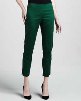 Adrienne Vittadini Cropped Side Zip Pants, Elm