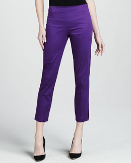 Adrienne Vittadini Cropped Side Zip Pants, Iris