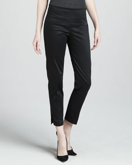 Adrienne Vittadini Cropped Side Zip Pants, Black