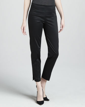 Cropped Side Zip Pants, Black
