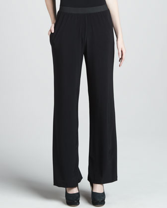Wide-Leg Jersey Pants, Black